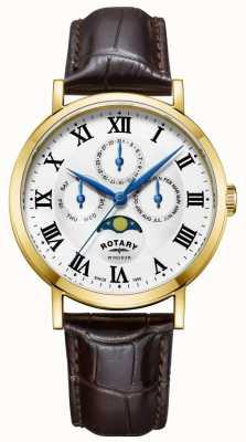Rotary Herren Windsor Moonphase Uhr Lederarmband GS05328/01
