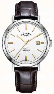 Rotary Herren windsor Uhr Silberton Gehäuse weißes Zifferblatt Lederarmband GS05315/02
