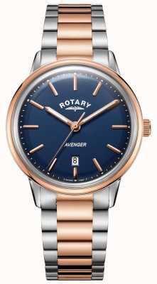 Rotary Mens Rächer Uhr zwei Ton Armband blaues Zifferblatt GB05342/05