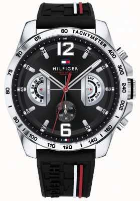 Tommy Hilfiger Herren Decker Uhr schwarzes Zifferblatt schwarzes Kautschukarmband 1791473