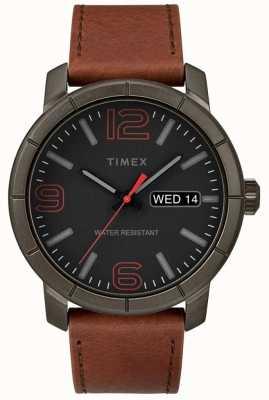 Timex Mens Mod 44 Tan Lederarmband schwarzes Zifferblatt TW2R64000