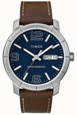 Timex Mens mod 44 braun Lederband blaues Zifferblatt TW2R64200