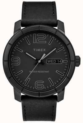 Timex Mens mod 44 schwarzes Lederarmband schwarzes Zifferblatt TW2R64300