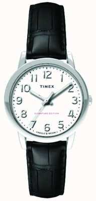 Timex Womens 30mm einfaches Lesegerät schwarzes Krokodilband weißes Zifferblatt TW2R65300