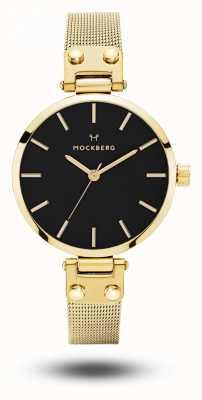 Mockberg Livia petite noir gold PVD überzogenes Armband schwarzes Zifferblatt MO403