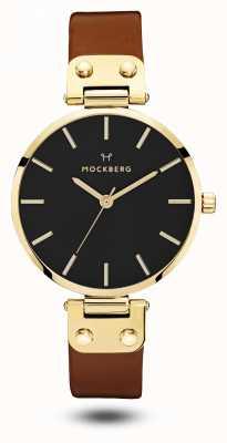 Mockberg Ilse schwarz, braunes Armband schwarzes Zifferblatt MO114
