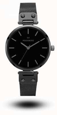 Mockberg Lio schwarzes PVD überzogenes Maschenarmband schwarzes Zifferblatt MO305