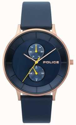 Police Herren berkeley blau Lederband Uhr 15402JSR/03
