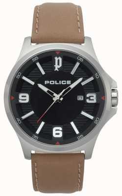 Police Herren Clan hellbraune Lederuhr 15384JS/02