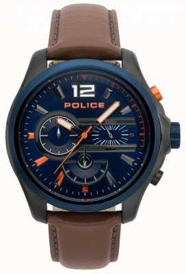 Police Herren Denver braunes Lederband Uhr 15403JSUBL/03