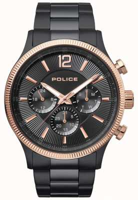 Police Mens wilde zweifarbige ip überzogene Armbanduhr 15302JSBR/02M