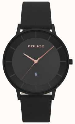 Police Mens fontana schwarz Leder schwarz Zifferblatt zu sehen 15400JSB/02