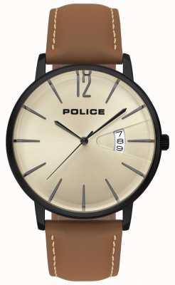 Police Tugendbraune Herrenuhr aus Leder 15307JSB/07