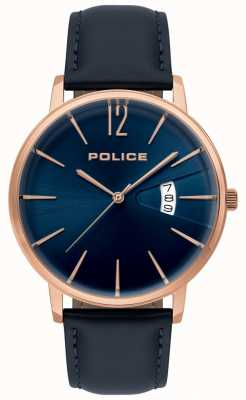 Police Tugendblaue Herrenuhr aus Leder 15307JSR/03