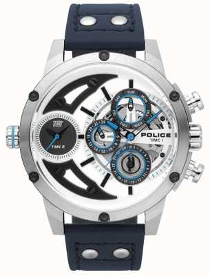 Police Mens Sense blau Leder Silber weiß Zifferblatt 15406JS/04
