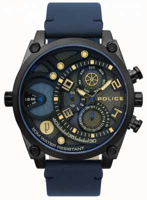 Police Herrenuhr aus kräftigem Leder in Blau 15381JSB/61