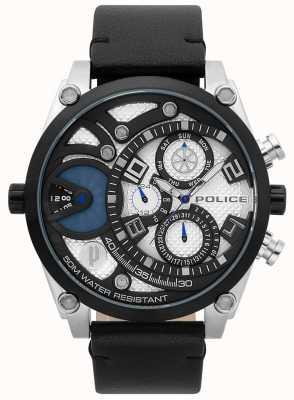Police Herrenuhr aus schwarzem Lederarmband 15381JSTB/04