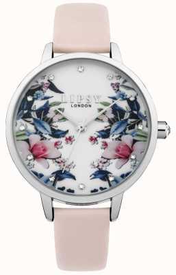 Lipsy Damenarmbanduhr mit Blumenarmband in Rosa LP573