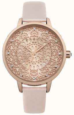 Lipsy Womens Rose Gold Spitze Muster Zifferblatt Uhr LP571