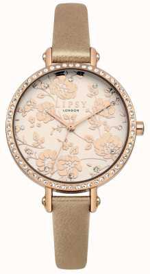 Lipsy Womens ritt Goldband mit Rose Gold floral Zifferblatt Uhr LP584