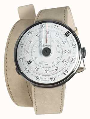 Klokers Klok 01 schwarzer Uhrenkopf graues Alcantara 420mm Doppelarmband KLOK-01-D2+KLINK-02-420C6