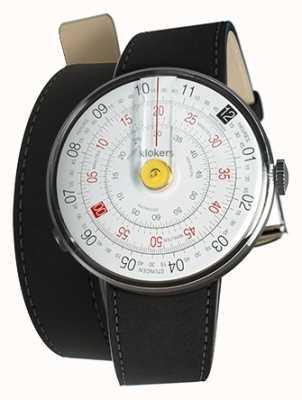Klokers Klok 01 gelbe Uhrenkopf-Matte schwarzer Doppelgurt KLOK-01-D1+KLINK-02-380C2