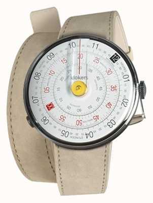Klokers Klok 01 gelber Uhrenkopf grauer Alcantara-Doppelgurt KLOK-01-D1+KLINK-02-380C6