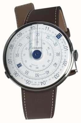 Klokers Klok 01 Blauer Uhrenkopf schokobrauner Einzelarmband KLOK-01-D4.1+KLINK-01-MC4