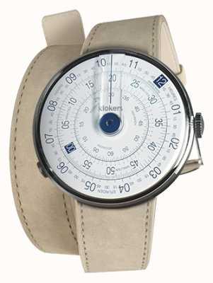 Klokers Klok 01 blau Uhrenkopf grau Alcantara 420mm Doppelgurt KLOK-01-D4.1+KLINK-02-420C6