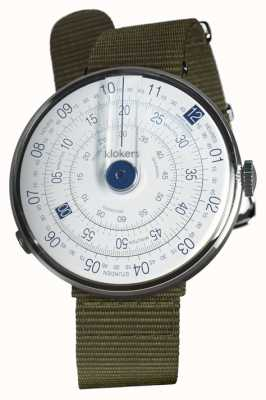Klokers Klok 01 blau Uhr Kopf Flechten grün Textil einzigen Gurt KLOK-01-D4.1+KLINK-03-MC2