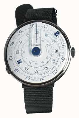 Klokers Klok 01 blauer Uhrenkopf schwarzer Textileinzelarmband KLOK-01-D4.1+KLINK-03-MC3