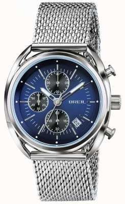 Breil Beaubourg Edelstahl Chronograph blaues Zifferblatt Mesh TW1529