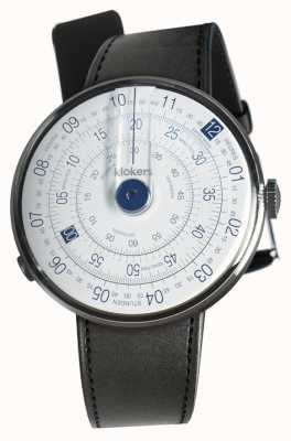 Klokers Klok 01 blauer Uhrenkopf schwarzer Satin-Einzelarmband KLOK-01-D4.1+KLINK-01-MC1