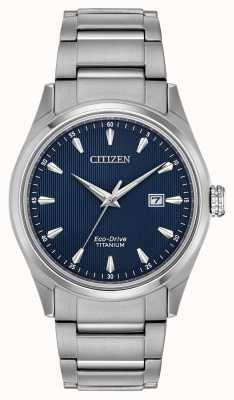 Citizen Herren blaues Zifferblatt silberfarbenes Super Titan Armband BM7360-82L
