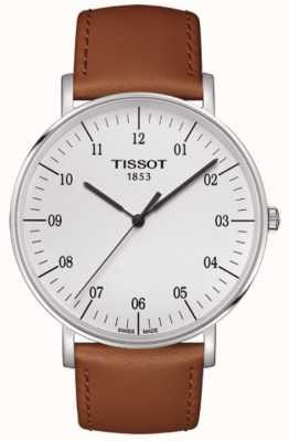 Tissot Mens immer großes weißes Zifferblatt braun Lederband T1096101603700