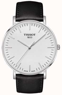 Tissot Mens immer großes weißes Zifferblatt schwarzes Lederarmband T1096101603100