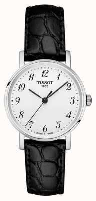 Tissot Womens immer schwarz Armband silbernes Zifferblatt arabische Ziffern T1092101603200