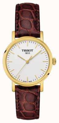 Tissot Womens jedes Mal braunes Leder vergoldet swiss made T1092103603100