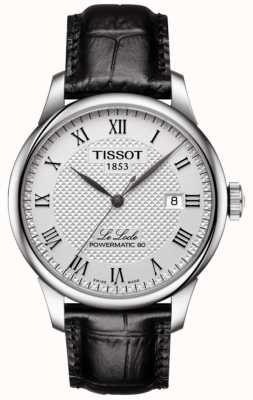 Tissot Herren le loce powermatic 80 silbernes Zifferblatt schwarzes Lederarmband T0064071603300