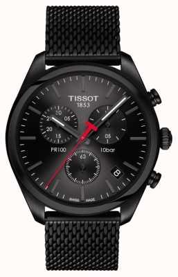 Tissot Herren pr100 Chronograph schwarz PVD überzogenes Armband T1014173305100