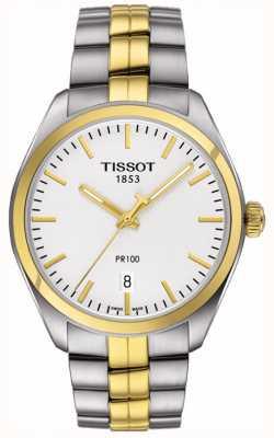 Tissot Herren pr100 Edelstahl vergoldet Armband Datum T1014102203100