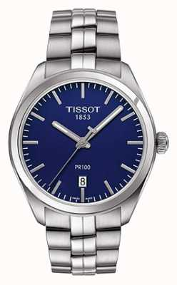 Tissot Herren Pr100 Edelstahl Armband blaues Zifferblatt T1014101104100