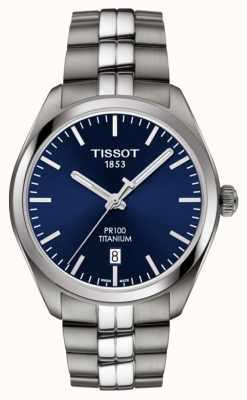 Tissot Mens pr100 titanblaues Zifferblatt Quarz T1014104404100