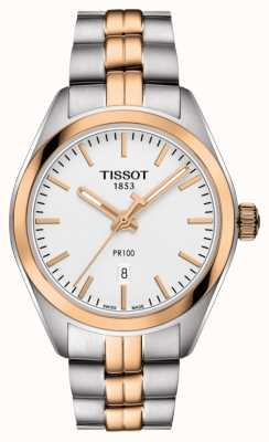 Tissot Womens pr100 zweifarbiges PVD vergoldetes Datum T1012102203101