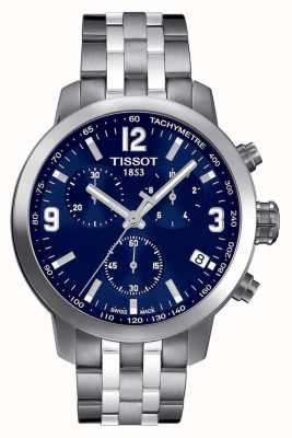 Tissot Mens prc 200 Chronograph blaues Zifferblatt zwei Ton T0554171104700