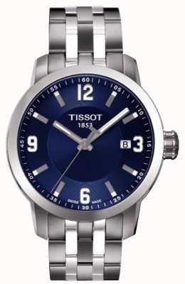 Tissot Mens prc 200 blaues Zifferblatt Chronograph zweifarbiges Armband T0554101104700