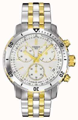 Tissot Mens prs 200 zweifarbiges Chronograph vergoldetes Armband T0674172203101