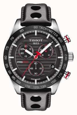 Tissot Mens Prs 516 Chronograph schwarzes Zifferblatt Lederarmband T1004171605100