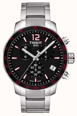 Tissot Mens Quickster Chronograph schwarzes Zifferblatt aus Edelstahl T0954171105700