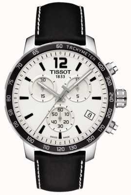 Tissot Mens Quickster Chronograph weißes Zifferblatt schwarzes Lederarmband T0954171603700
